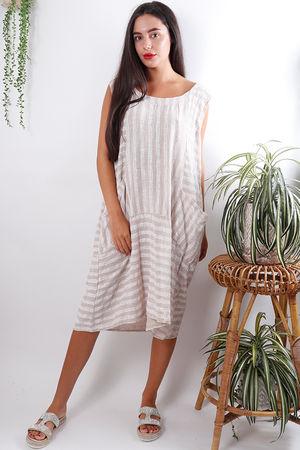 Stripe Linen Dress Oat