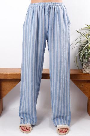 Stripe Linen Pant Denim