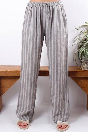 Stripe Linen Pant Latte