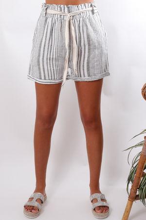 Stripe Linen Paperbag Shorts Khaki