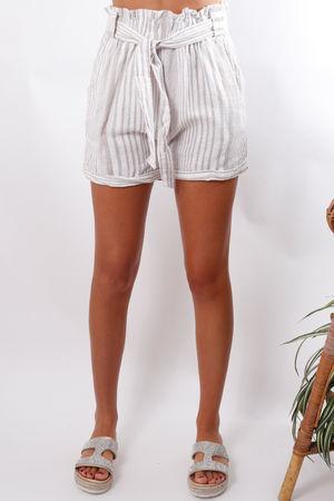 Stripe Linen Paperbag Shorts Oat