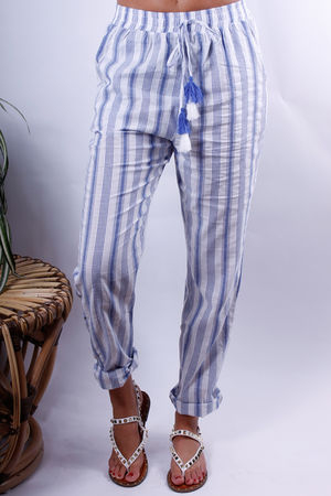 Stripe PJ Style Pant Blue