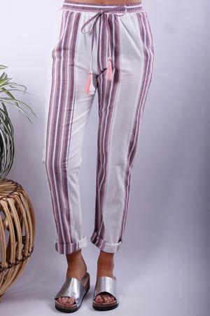 Stripe PJ Style Pant Dusky Rose