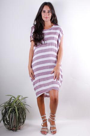 Stripe Pocket Linen Mix Tunic Aubergine