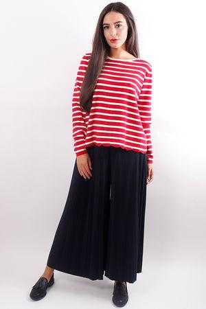 Stripe Split Back Knit Red
