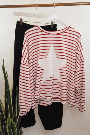 Striped Star Box Sweat Red