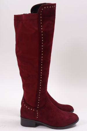 Stud Over The Knee Boots Wine