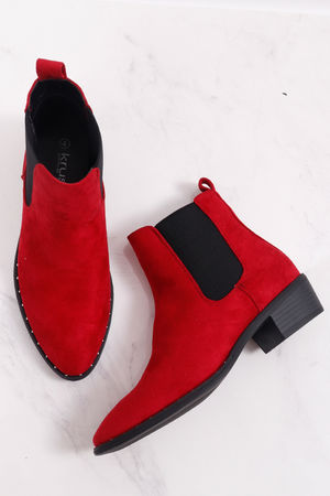 Stud Suedette Western Boots Red