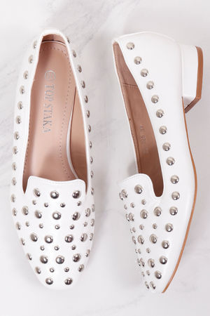 Studded Slipper Shoe White