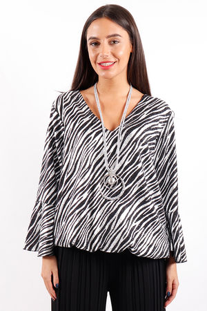 Studio 54 Zebra Top Silver