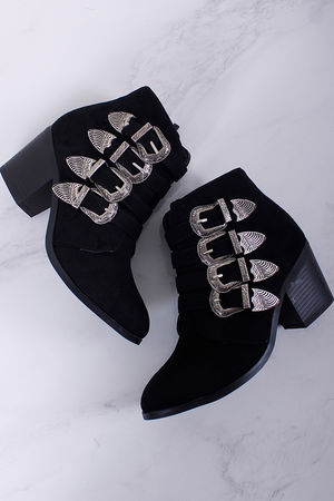 Suedette Buckle Ankle Boot Black