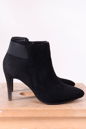 Suedette Heeled Ankle Boot Black