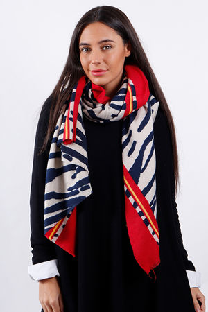 Super-soft Border Zebra Scarf Navy and Red