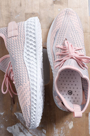 Super Knit Trainers Peachy Grey