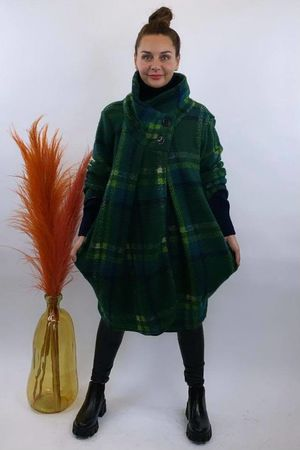 Super Scotch Funnel Cocoon Coat Greenery