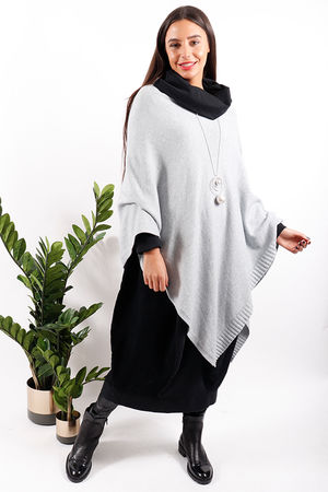 Super Soft Dip Side Poncho Grey