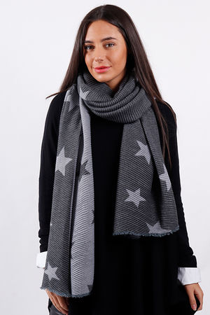Super Soft Pleat Scarf Star Grey