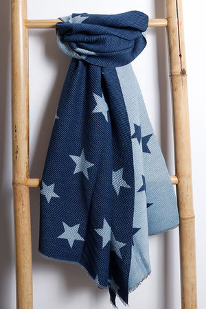 Super Soft Pleat Scarf Star Navy & Denim