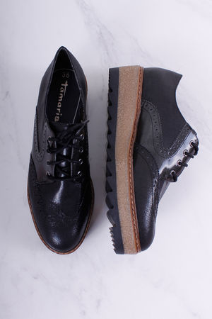 Tamaris Black Flatform Brogue