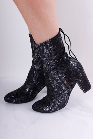 Tamaris Black Snake Sock Boot