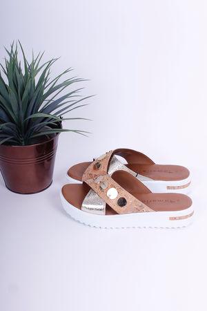 Tamaris Disk & Cork Leather Sliders