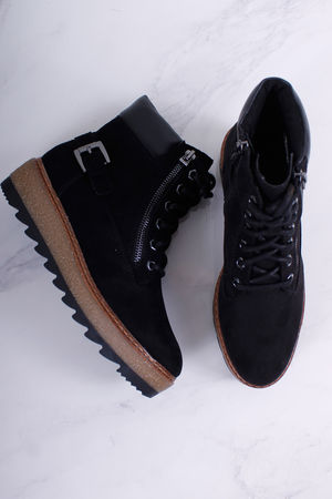 Tamaris Flatform Lace Up Booties Black
