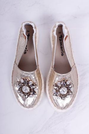 Tamaris Jewel Crackle Metallic Gold Espadrilles