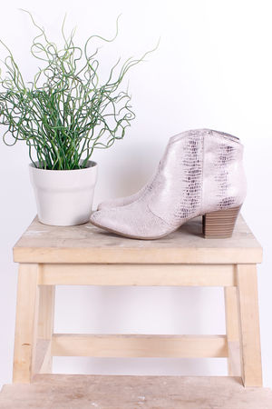 Tamaris Metallic Ankle Boots Nude