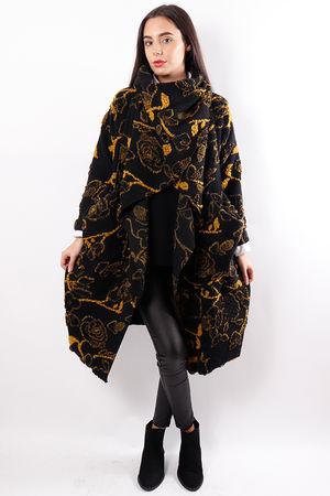 Textured Cowl Coat Black