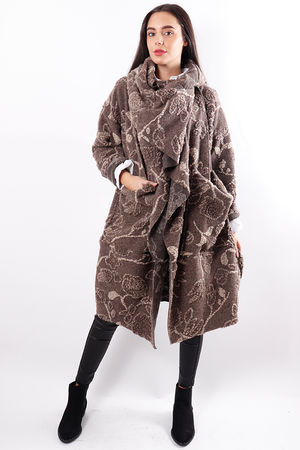 Textured Cowl Coat Taupe