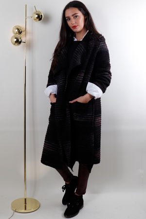 Textured Ribby Boiled Wool Coat Black