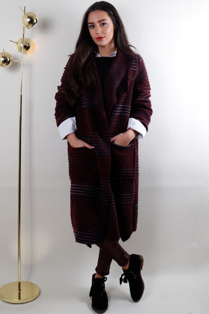 Textured Ribby Boiled Wool Coat Burgundy