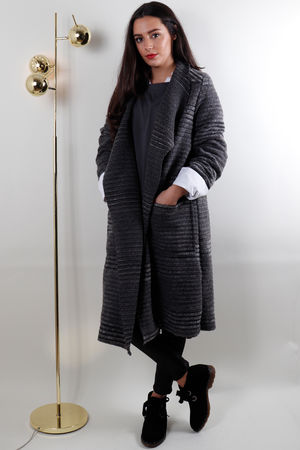 Textured Ribby Boiled Wool Coat Grey