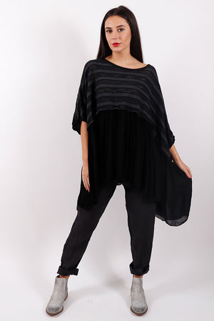 Stockholm Textured Ruffle Top Black