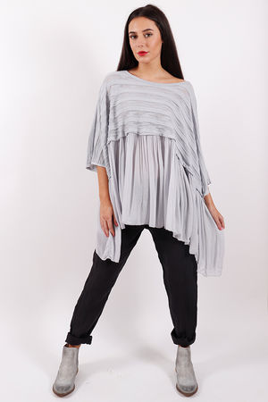 Stockholm Textured Ruffle Top Dove