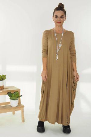 The 3/4 Sleeve Parachute Dress Soft Tan