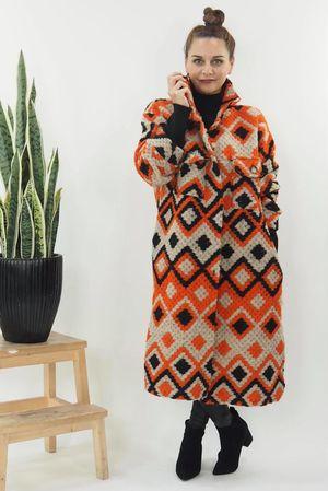 The Aztec Diamond Coat Tangerine