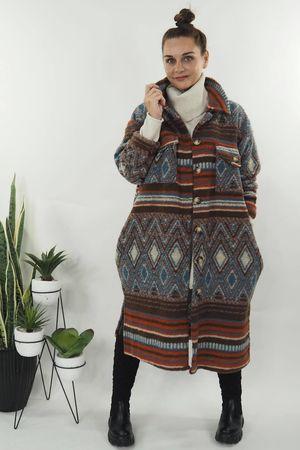 The Aztec Stripe Coat Espresso & Denim