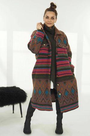 The Aztec Stripe Coat Petrol & Pink