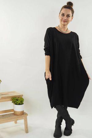 The Basic Cocoon Tunic Dress Black