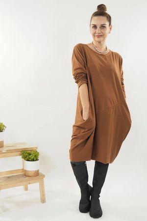 The Basic Cocoon Tunic Dress Dark Tan