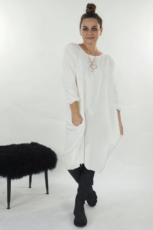 The Basic Cocoon Tunic Dress Ecru