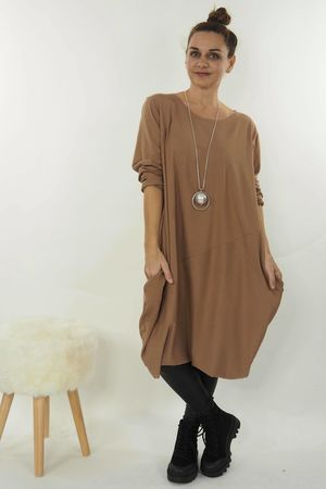 The Basic Cocoon Tunic Dress Soft Tan