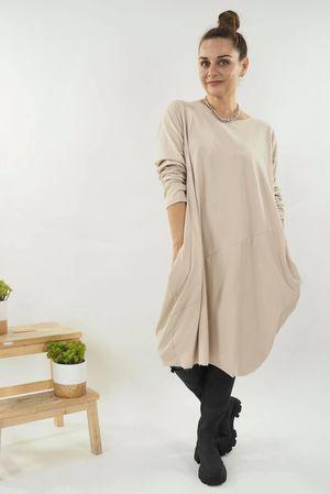 The Basic Cocoon Tunic Dress Stone