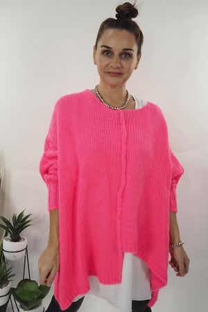 The Big Softie Cut Out Knit Hot Pink