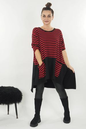 The Breton Pocketed Slip Side Top Red