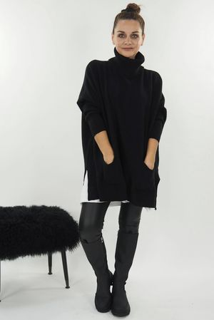 The Button Back Blanket Cowl Knit Black