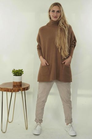 The Button Back Blanket Cowl Knit Soft Tan