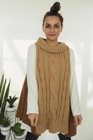 The Cable Knit Front Tank Tan