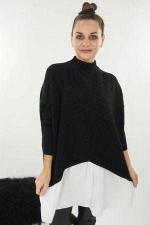 The Cable Turtle Neck Shirtie Black